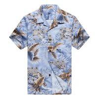NWT Men Aloha Shirt Cruise Luau Hawaiian Party Blue with Grey Leaf