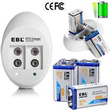 EBL Lot 9V 600mAh 6F22 Li-ion Rechargeable Batteries + 2 Slot 9 Volt USB Charger