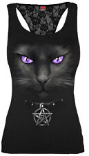 SPIRAL DIRECT BLACK CAT Racer Back Lace Vest/Goth/Cat/Kitten/Purple/Gothic/Top