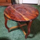 """28"""" Vintage Chess Checkers Carved Wood Game Table Koi Folding coffee table"""