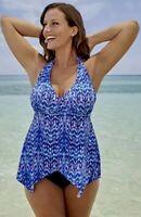 SwimsuitsForAll Women Plus Size 20 Handkerchief Halter Tankini Swim Top Swimwear