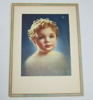 Vintage 1935 Art Deco Print Faith by Annie Benson Mueller Child Portrait 16 x 12
