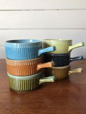 Six Vintage Retro Harlequin Ramekins Oven Dishes Serving Bowls Made In Japan