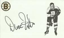 Dunc Fisher Autographed Hockey Custom 3 X 5 Index Card W/COA Boston Bruins