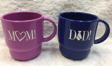 Tupperware Coffee Mug Cup SET OF 2 Pastel Love MOM DAD Blue Purple Special 2224