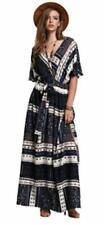 NEW Women Medium/Large Boho Split Tie-Waist Vintage Print MAXI Dress POCKETS