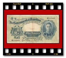 RARE MAURITIUS P-22 1937 ND 5 RUPEES BANKNOTE KING GEORGE VI KGVI