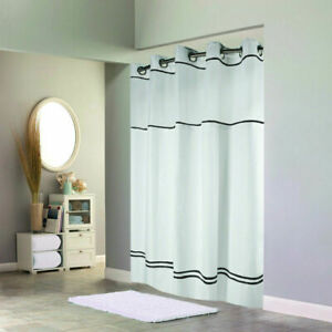 Hookless Escape 71 in. x 74 in. White Shower Curtain with Liner Black