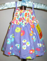 New PENELOPE MACK Size 3-6 Months Purple Smocked Floral Dress with Diaper Cover