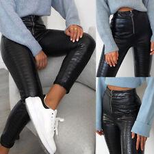 UK Womens Crocodile Faux Leather Pants High Waist Leggings Zip Up Pants Trousers