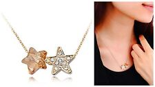 Austria Crystal Champagne Gold Star Chain Necklace Pendant Women Gift Jewellery