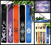 ~INCENSE BURNER~HOLDER~BOAT~Wicca~Magic~Pagan~Owl Goddess Om Pentagram Hamsa~