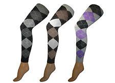 3 Damen Baumwoll Leggings Strickleggings mit Karomuster blickdicht Größe 36-44