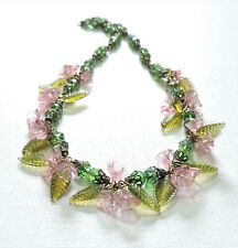 Vintage Pink Cherry Blossoms Leaves Lampwork Art Glass Bead Necklace Jl20Bn52