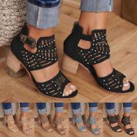 Women Summer Roma Peep Toe Hollow Block Heel Sandals Party High Heels Shoes SH