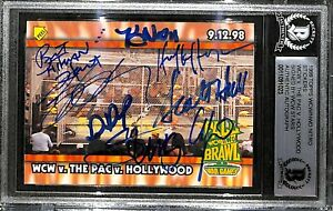 Sting Hulk Hogan DDP +5 Signed 1999 Topps WCW NWO Nitro Sticker Card BAS COA WWE