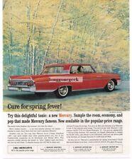 1961 Mercury MONTEREY Signal Red 2-door Coupe Autumn Scene Vtg Print Ad