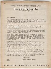 CIRCA 1929 SEARS ROEBUCK AND CO. LETTER - RAW FUR MARKETING SERVICE