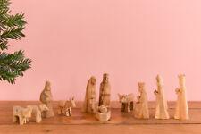 Vintage Small Wooden Rustic Hand Carved Folk Art Nativity Set