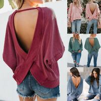 Femmes Casual chemise dos nu manches longues Sweatshirt pulls Tops Blouse