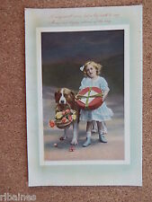 R&L Postcard: Happy Birthday, Young Girl and Dog, Flowers, Box of Chocolate