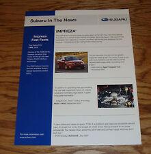 2008 Subaru Impreza Fast Facts Sales Sheet Brochure 08