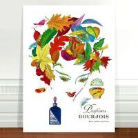 "Vintage French Perfume Poster Art ~ CANVAS PRINT 36x24"" Parfums Bourjois"