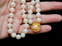 Vintage 1980's Double Knotted Faux Pearl Necklace w/Gold Tone Built In Clasp