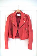 PIERRE BALMAIN rouge/corail/rose en cuir Veste de motard taille 42 (italien) C. UK 10