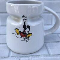 Vintage Disney Mickey Mouse Wide Base Travel Coffee Mug Ceramic W/ Lid Highwave