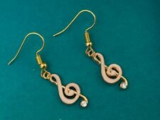 Cute New Yellow Gold Plated Pink Enamel Crystal Music Note Hook Dangle Earrings
