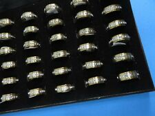 US SELLER-lot of 20 rings cz crystal jewelry unisex stainless steel band rings