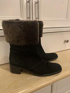 Salvatore Ferragamo Black Suede Leather Mid Calf Boots W/ Brown Faux Fur Sz 9.5