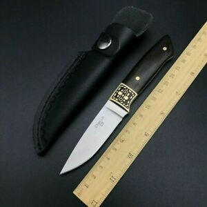 Drop Point Knife Fixed Blade Hunting Tactical Combat Wild D2 Steel Wood Handle S