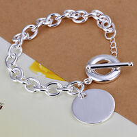 wholesale sterling solid silver fashion charms round chain Bracelet XLSB277