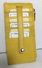 Rolfs Leather Slim Organizer Wallet Card Holder Yellow Zip Around W/ Strap