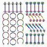 40pcs Stainless Steel Body Piercing Jewelry Set Tongue Lip Navel Belly Rings