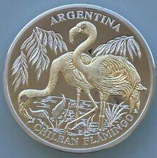 Liberia 2005 Argentina  Chilean Flamingo  10 Dollars Diamond Silver Coin,Proof
