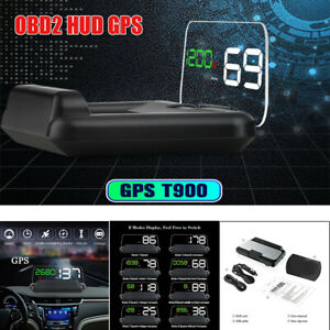 Car OBD2 HUD Head Up Display LED GPS Speed Water Temp Gauge KM/H Multi functions