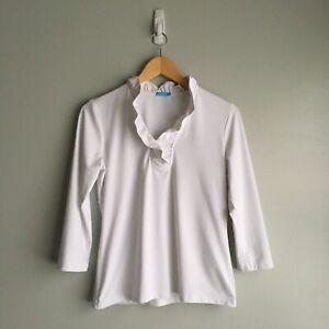J. McLaughlin women's white Durham ruffle top blouse size small