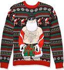Blizzard Bay Men's Ugly Christmas Sweater Santa, Black/Beige, X-Large