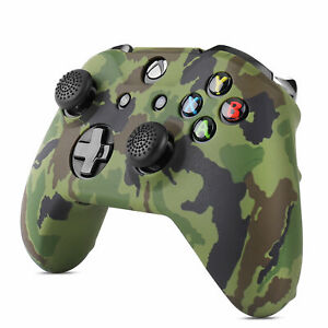 Xbox One / One S Silicone Gel Controller Skin Set w/ Thumbstick Caps, Camo Green