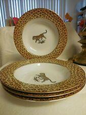 Lynn Chase Amazonian Jaguar ~ Set of 4 Unused Soup Bowls ~