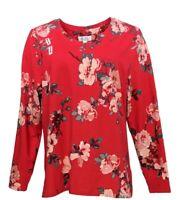 Denim & Co. Women's Sz L Printed Perfect Jersey V-Neck Long-Slv True Red A346283