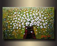 Flower Wall Art Decor Modern Framed Floral Canvas Hand Painted Green Artwork