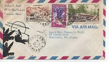 French Cameroun 1957 Ebolowa to New Jersey Airmail Cover with 3 stamps