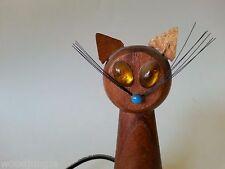MID CENTURY DANISH MODERN TEAK WOOD SIAMESE CAT FIGURINE SALT SHAKER Vintage