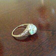 Rarest Horace Welch Vintage 14k Gold Floating Opal Ring