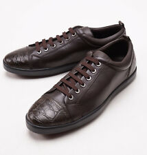 NIB $1125 BRIONI Chocolate Calf Leather Sneakers with Crocodile Trim US 8 Shoes
