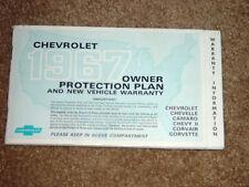 1967 Corvette, Chevelle, Camaro SS Factory GM Original Owner Protection Plan Bk